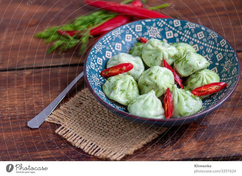 Gekochter Khinkali aus Teig mit Spinat. Gemüse Frucht Ernährung Vegetarische Ernährung Limonade Saft Pfanne Sommer Winter Baum Blatt frisch blau grün weiß
