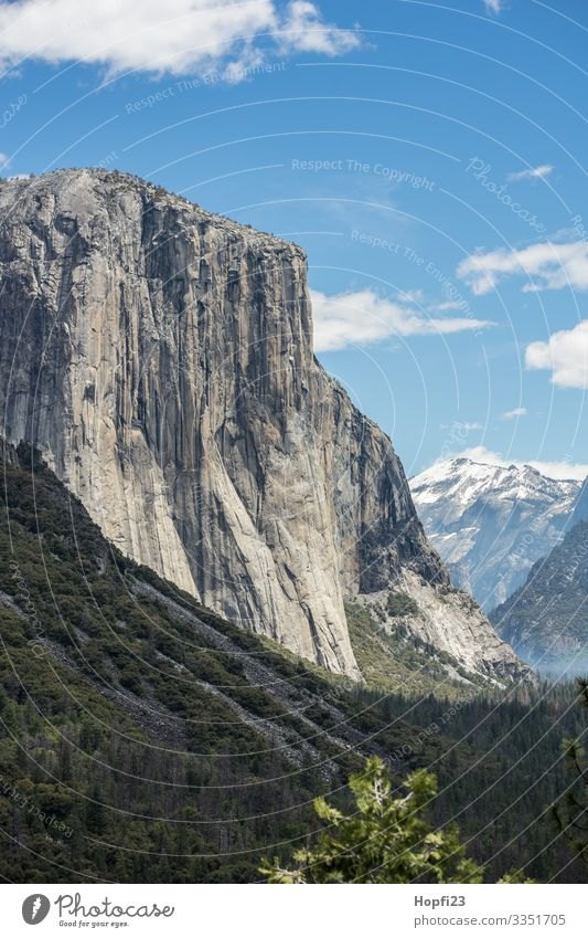 El Capitan im Yosemite Nationalpark Yosemite NP Yosemite National Park Yosemite Park Wasserfall Granit stein fels Baum Bäume hoch steil riesig Fluss natur