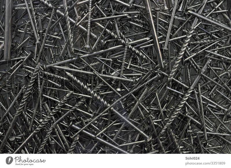 Nägel durcheinander schwarz grau Metall liegen Spitze Stahl chaotisch Handwerk silber gerade Nagel heimwerken formatfüllend