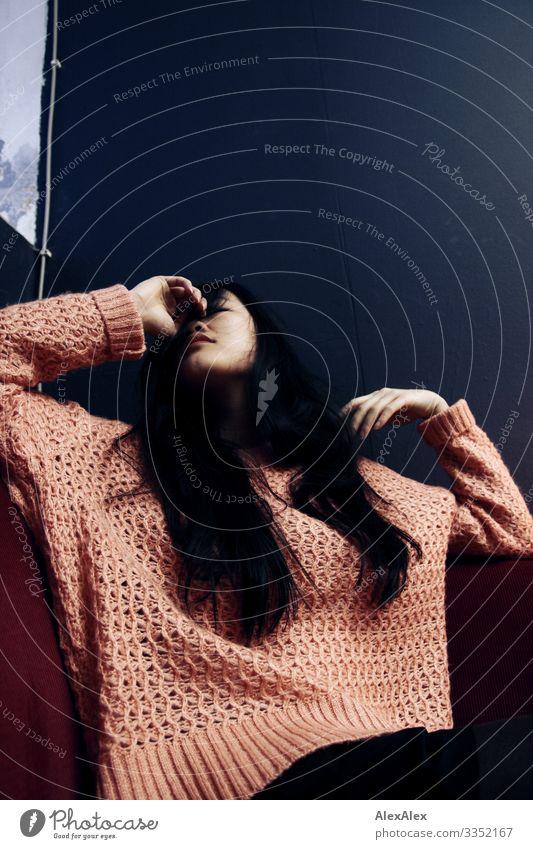 Portrait einer jungen Frau Lifestyle elegant Stil schön ruhig Raum Lounge Junge Frau Jugendliche 18-30 Jahre Erwachsene Pullover schwarzhaarig langhaarig