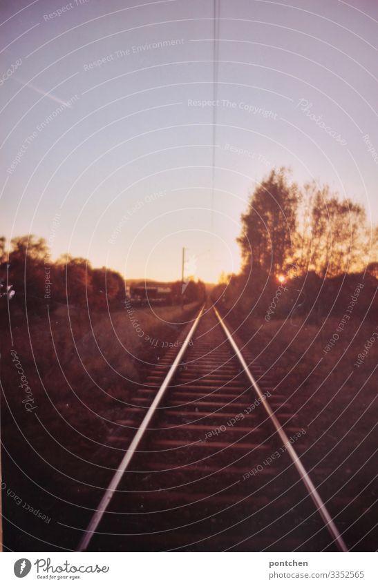 Bahnschiene in Landschaft bei Sonnenuntergang Verkehr Verkehrsmittel Verkehrswege Öffentlicher Personennahverkehr Berufsverkehr Güterverkehr & Logistik