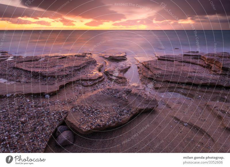 Natur Meer Strand Küste Felsen Stimmung Horizont Europa Abenddämmerung Griechenland Sandstein Gesteinsformationen