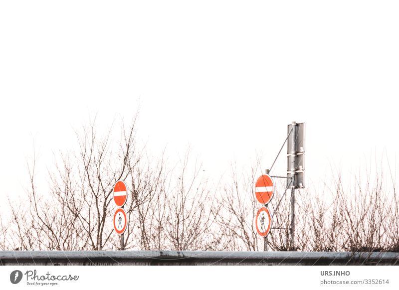 Verkehrsschilder | Verbot für Einfahrt und Verbot für Fußgänger Autobahn Verkehrszeichen Zeichen Schilder & Markierungen grau rot weiß Sicherheit gefährlich