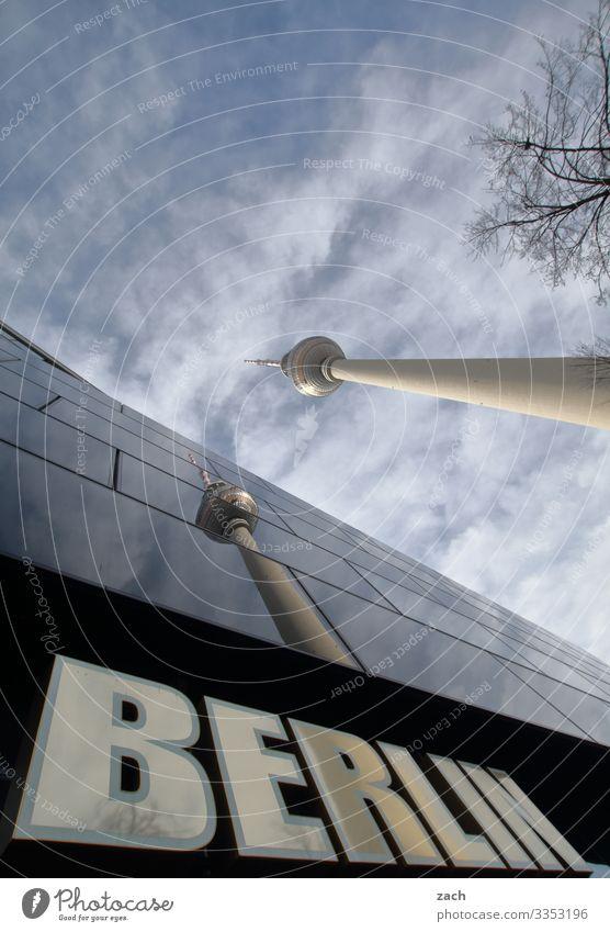 Zwillinge Himmel Wolken Schönes Wetter Baum Berlin Stadt Hauptstadt Stadtzentrum Turm Fassade Fenster Sehenswürdigkeit Wahrzeichen Fernsehturm