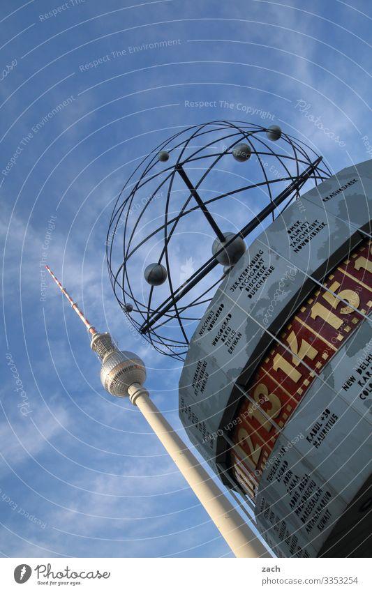 Weltzeit Uhr Himmel Schönes Wetter Berlin Stadt Hauptstadt Stadtzentrum Menschenleer Turm Sehenswürdigkeit Wahrzeichen Fernsehturm Berliner Fernsehturm