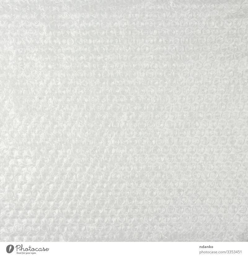 Textur der Luftblasenfolie Handwerk Verpackung Paket Kunststoff glänzend Sauberkeit weich weiß Schutz Air umhüllen Metallfolie blanko Hintergrund Material