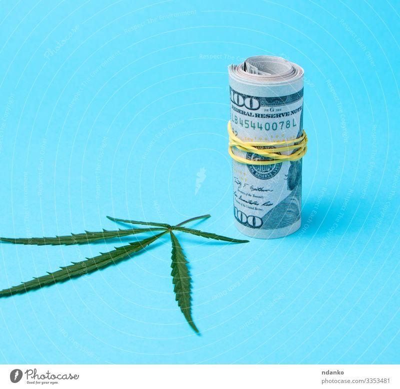 Banknoten von amerikanischen Dollars Kräuter & Gewürze Geld Medikament Kapitalwirtschaft Business Kultur Gras Blatt Papier natürlich wild blau grün Haschisch