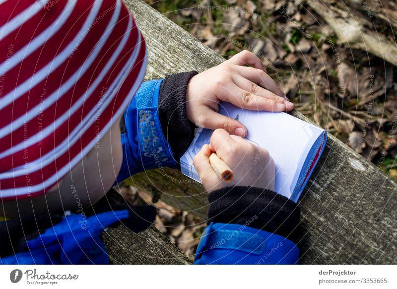 Eifriges Schreiben Schwache Tiefenschärfe Textfreiraum unten Außenaufnahme Farbfoto Kind Kindheit Kindheitserinnerung schreiben malen Kindergarten