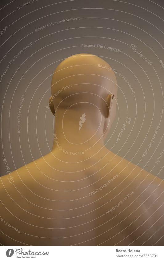 Nackter Mann mit Glatze von hinten Mensch Rückseite Rücken nackt Oberkörper kahlköpfig Wegsehen Innenaufnahme Haut Körper Rückansicht haarlos