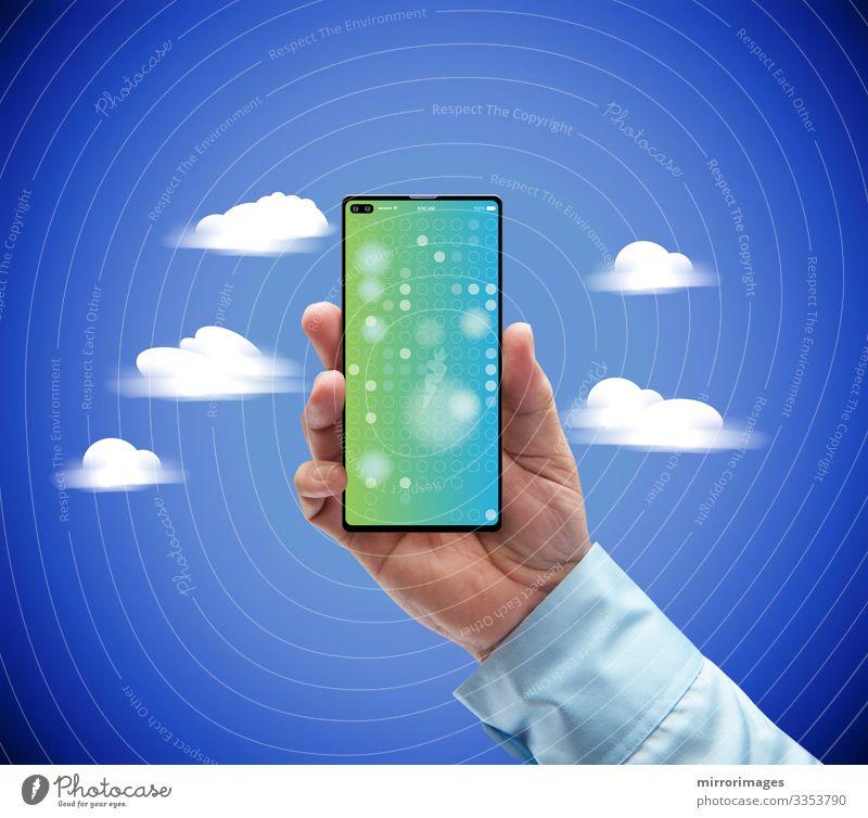 Mensch Himmel Jugendliche blau schön Hand Wolken 18-30 Jahre Lifestyle Erwachsene sprechen Umwelt Stil Business Kunst Arbeit & Erwerbstätigkeit