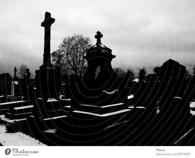 Friedhof Flandern Ferien & Urlaub & Reisen Tourismus Winter Schnee Veurne Belgien Stadt Menschenleer ästhetisch dunkel Stimmung Traurigkeit Sorge Trauer Tod