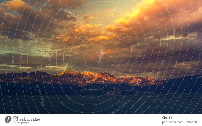 Kleinwalsertal am Abend Ferien & Urlaub & Reisen Tourismus Ausflug Sommer Berge u. Gebirge wandern Umwelt Natur Landschaft Pflanze Urelemente Erde Luft Wolken