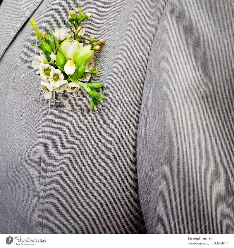 Bräutigam kaufen elegant Design Glück Feste & Feiern Hochzeit maskulin Partner Erwachsene Brust 1 Mensch 45-60 Jahre Hochzeitsanzug Anzug Jacke grau grün Blume