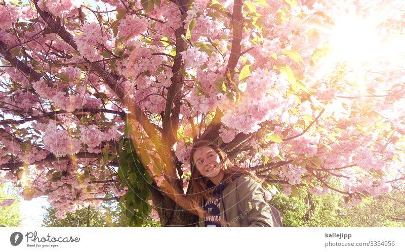 frühyeah! Mensch Natur Jugendliche Pflanze Sonne Baum Blatt Mädchen Leben Umwelt Blüte Frühling natürlich feminin lachen Glück