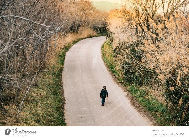 Einsames Kind, das auf einer Straße läuft. Luftaufnahme Lifestyle Freude Freizeit & Hobby Ferien & Urlaub & Reisen Abenteuer Sommer Berge u. Gebirge wandern
