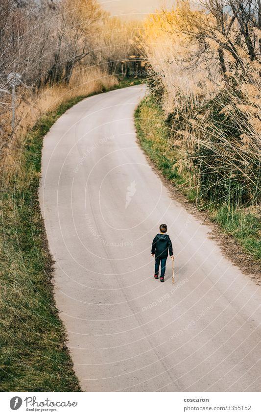 Einsames Kind, das auf einer Straße läuft. Luftaufnahme Lifestyle Freude Ferien & Urlaub & Reisen Abenteuer Sommer Berge u. Gebirge wandern Mensch maskulin