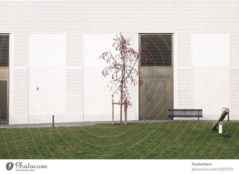 Statt Garten Baum Gras Rasen Fassade Tür Bank Wippe Spielen eckig Stadt grün weiß diszipliniert Ordnungsliebe Reinlichkeit Sauberkeit Einsamkeit modern