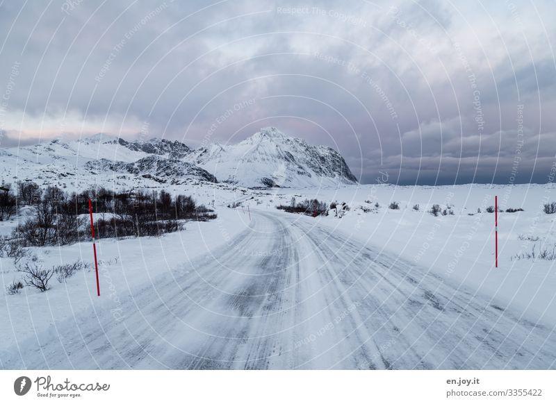 Eiszeit | glatt Ferien & Urlaub & Reisen Ausflug Winter Schnee Winterurlaub Natur Landschaft Wolken Frost Norwegen Skandinavien Lofoten Verkehrswege Straße kalt