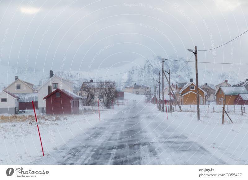Winterwetter Ferien & Urlaub & Reisen Ausflug Schnee Winterurlaub Umwelt Landschaft Himmel Wolken schlechtes Wetter Wind Eis Frost Schneebedeckte Gipfel Eggum
