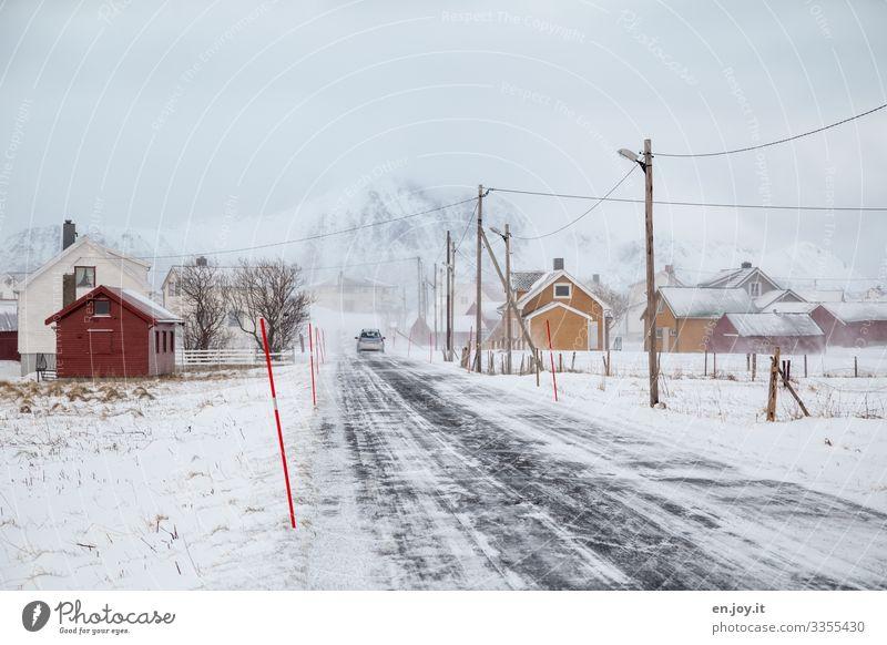 Eiszeit | Eggum Ferien & Urlaub & Reisen Stadt Haus Winter Berge u. Gebirge Straße kalt Schnee PKW Wetter Klima Frost Dorf Laterne Skandinavien