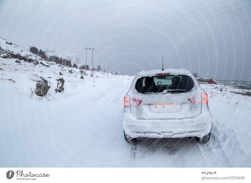 Eiszeit | was sonst Ferien & Urlaub & Reisen Ausflug Abenteuer Winter Schnee Winterurlaub schlechtes Wetter Frost Norwegen Skandinavien Lofoten Verkehrswege
