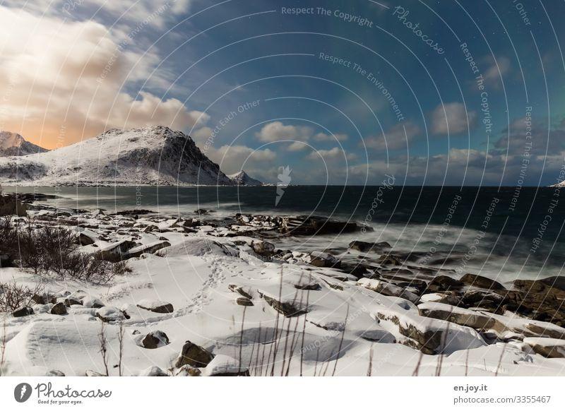 Keine Polarlichter Ferien & Urlaub & Reisen Meer Winter Schnee Winterurlaub Natur Landschaft Himmel Wolken Nachthimmel Stern Horizont Sonnenaufgang