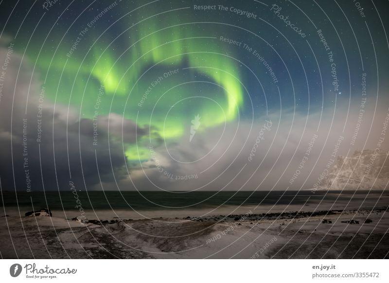 Hab euch lieb Ferien & Urlaub & Reisen Meer Winter Winterurlaub Natur Landschaft Himmel Gewitterwolken Nachthimmel Stern Horizont Eis Frost Schnee Nordlicht