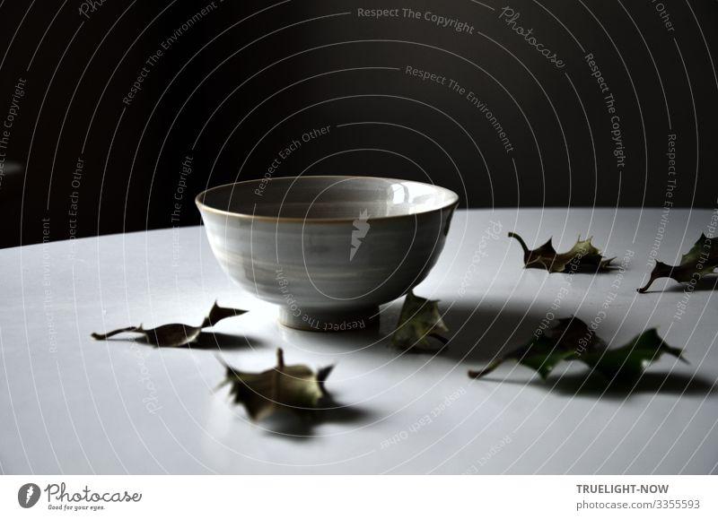 Leere chinesische Tee-Schale im Morgenlicht auf einem weißen runden Tisch mit einigen herabgefallenen Blättern der Stechpalme vor dunklem Hintergrund: Versuch zur buddhistischen Herz-Sutra