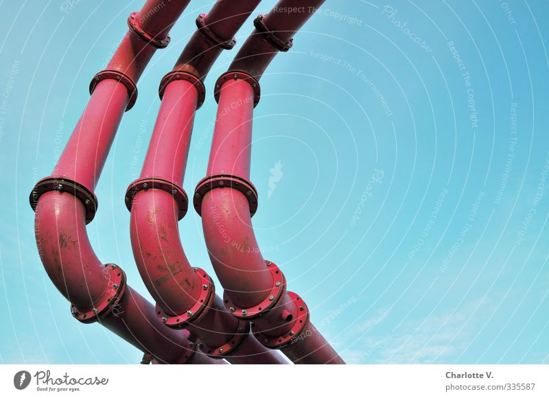 Rohre blau oben Metall Linie rosa elegant Ordnung einfach Freundlichkeit Klarheit lang Verbindung Röhren Konstruktion Kurve graphisch