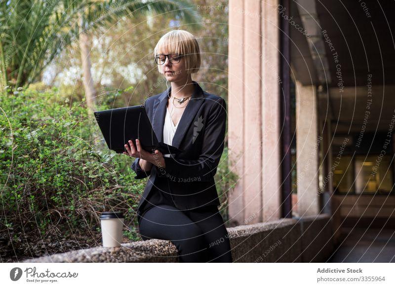 Junge Geschäftsfrau sitzt und benutzt Tablet stylisch jung Tablette Browsen zuschauend Park Zaun Frau professionell Person schön attraktiv Unternehmer Garten