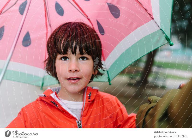Süßes Kind mit buntem Regenschirm schaut in einer Parkgasse in die Kamera Saison lustig Gasse Wasser nass Schmutz Kindheit Schlamm Herbst Spiel aktiv Wetter
