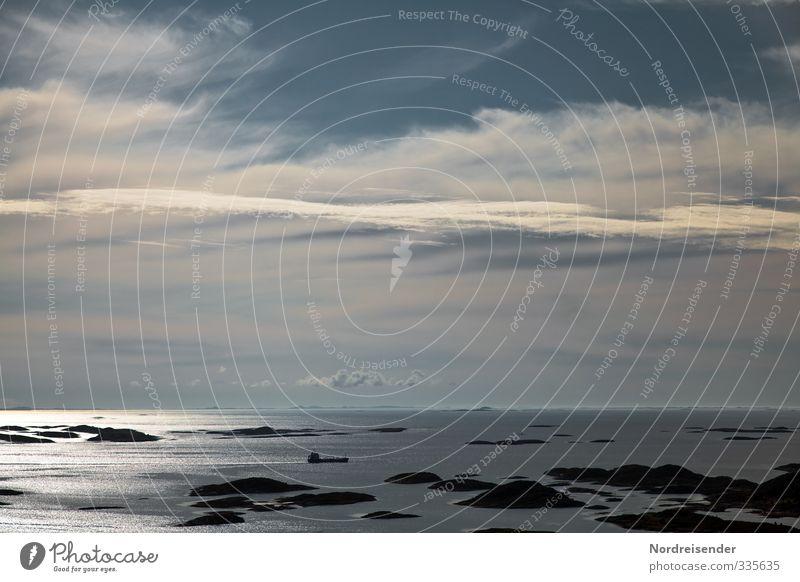 Schären Ferien & Urlaub & Reisen Ferne Meer Urelemente Wasser Himmel Wolken Sommer Klima Schönes Wetter Insel Schifffahrt Wasserfahrzeug Unendlichkeit blau