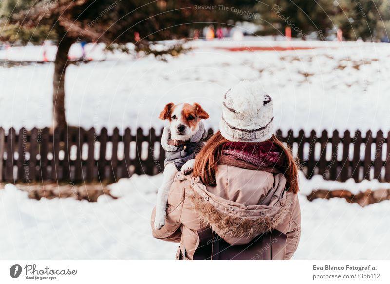 Frau, die ihren süßen Jack-Russell-Hund auf der Schulter hält. Wintersaison am Berg Spielen Schneebälle Berge u. Gebirge Außenaufnahme Ferien & Urlaub & Reisen