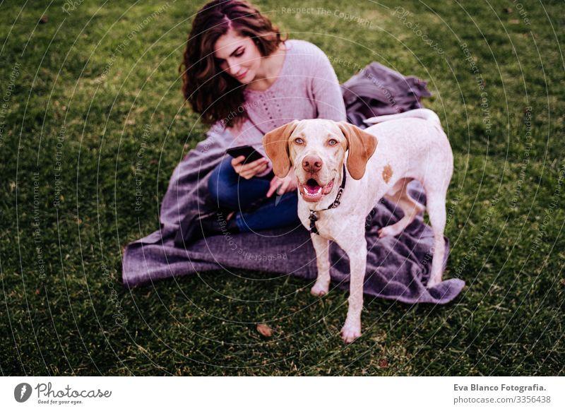 junge Frau mit ihrem Hund im Park. Frau mit Handy. Herbstsaison Fotografie Technik & Technologie Jugendliche Außenaufnahme Liebe Haustier Besitzer