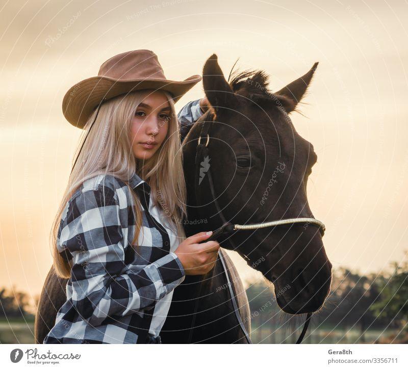 junges Mädchen mit Cowboyhut und Pferd bei Sonnenuntergang Stil Gesicht Sommer Mensch Frau Erwachsene Hand Natur Pflanze Tier Himmel Gras Wiese Dorf Bekleidung