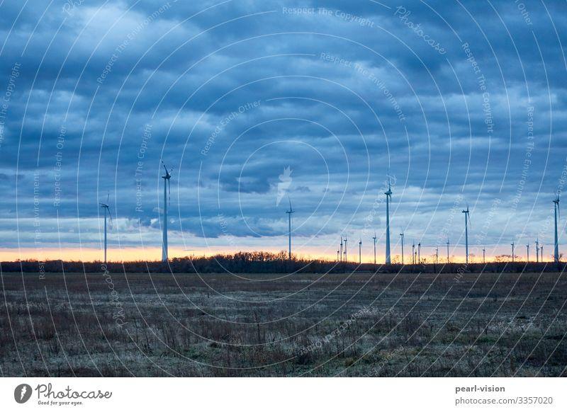 winterwind Windkraftanlage Erneuerbare Energie Himmel Winter Dämmerung Abend Wetter Technik & Technologie Energiewirtschaft