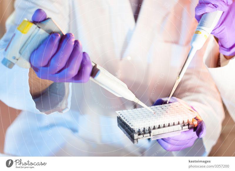 Mehrkanal-Pipettieren. Teller Gesundheitswesen Medikament Wissenschaften Labor Prüfung & Examen Arbeit & Erwerbstätigkeit Arzt Krankenhaus Technik & Technologie