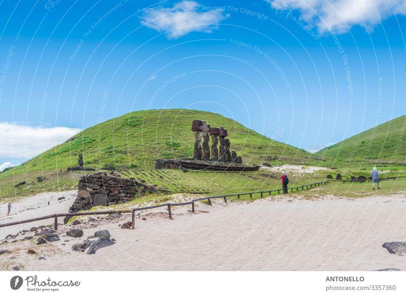 Ahu Nau Nau Nau am Strand von Anakena Ferien & Urlaub & Reisen Tourismus Abenteuer Sommer Sommerurlaub Kopf Kunst Kunstwerk Skulptur Kultur Umwelt Natur