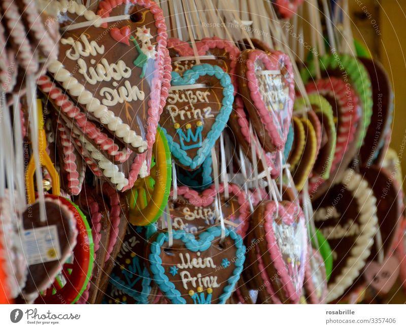 Lebkuchenherzen | gefangen in Plastik Liebe Jahrmarkt Liebeserklärung Ich liebe dich Zuckerguss süß Lebensmittel essbar verziert Geschenk Gebäck gebacken kaufen