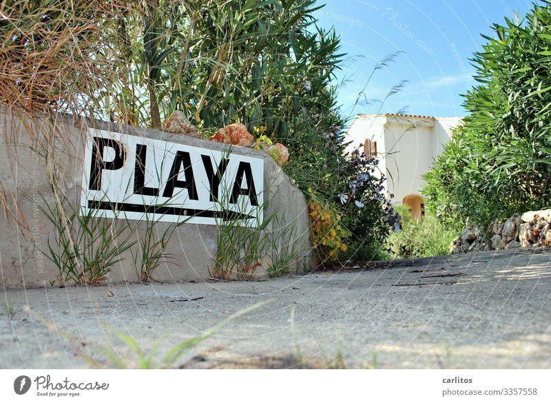 vamos ..... Ferien & Urlaub & Reisen Sommer Sonne Strand Wege & Pfade Tourismus Schilder & Markierungen Hinweisschild Richtung Spanien Mallorca Balearen