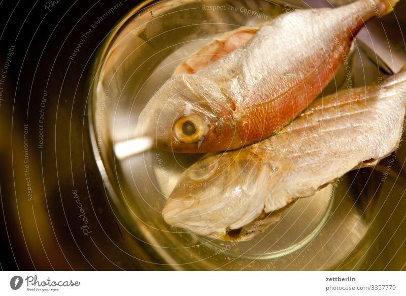 Fische Gesunde Ernährung Speise Essen Foodfotografie frisch Schalen & Schüsseln Wasser Essen zubereiten Küche 2 Tierpaar Tod Fleisch Schuppen Auge