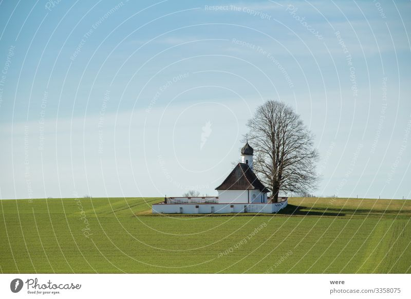 small chapel in the field Natur Menschenleer Kirche Religion & Glaube building church copy space german landscape historic house lonely meadow nobody old