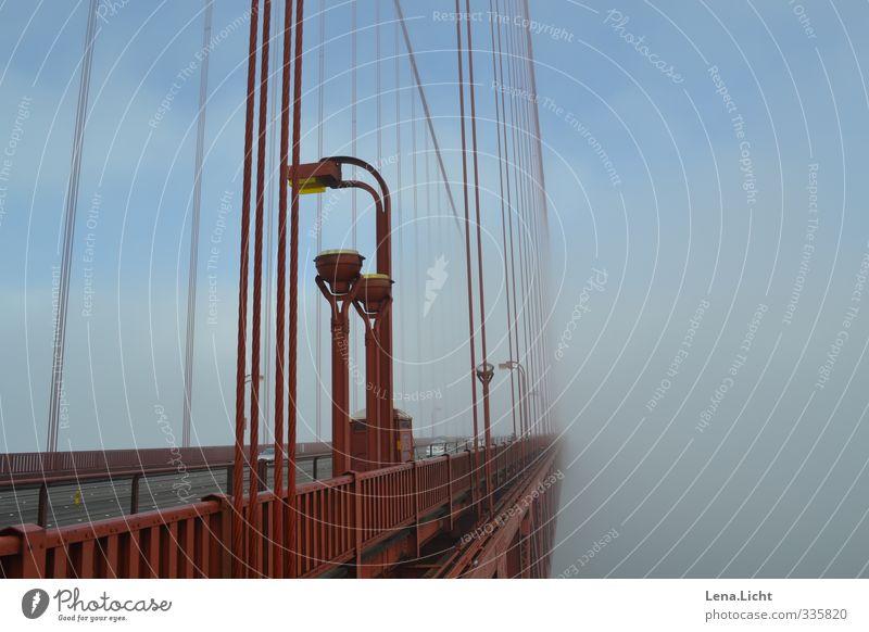 Bridge to nowhere Ferien & Urlaub & Reisen blau rot ruhig Nebel Abenteuer Brücke Fernweh Sightseeing Städtereise