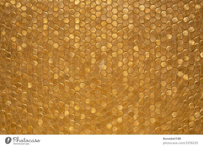 Gold glänzende, kleine, gekachelte Wandflächen-Hintergrundtextur, Stil Design Dekoration & Verzierung Kunst Blume Felsen Architektur Mode Ornament modern retro