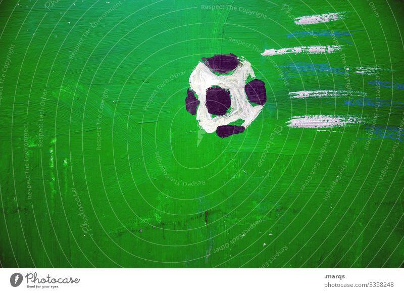 Fußball gemalt grün weiß schwarz Sport Wettbewerb Spielen Weltmeisterschaft Freizeit & Hobby Kindheit Ballsport Europameisterschaft Elfmeter Gewinner fliegen