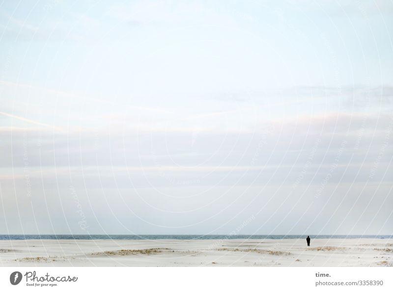 frische Brise Mensch 1 Umwelt Natur Landschaft Sand Wasser Himmel Wolken Horizont Küste Strand Nordsee Düne Spiekeroog beobachten Blick stehen maritim Neugier
