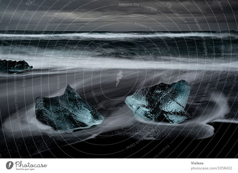 eiszeit | eiszeit Schnee Eis Frost Gletscher kalt blau Jökulsárlón Gletscher Vatnajökull Lagune Island Eisberg Gletscherzunge Farbfoto Diamondbeach