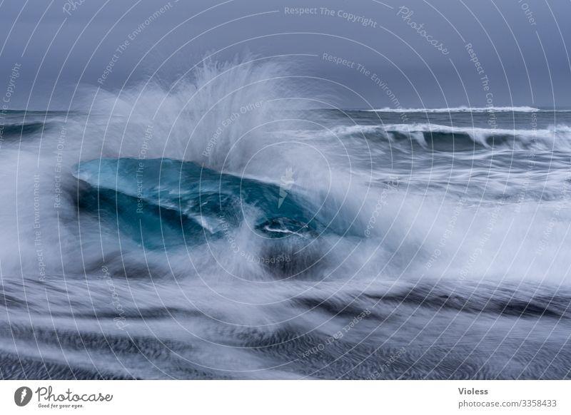 *Splash* 700 Wellen Schnee Eis Frost Gletscher kalt blau Jökulsárlón Gletscher Vatnajökull Island Eisberg Diamondbeach Farbfoto