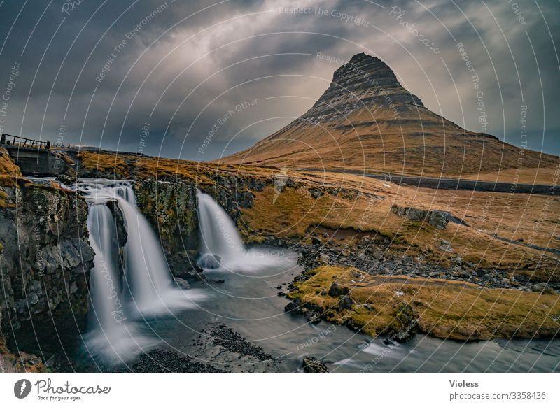 Kirkjufell Island Wasserfall Berge u. Gebirge Sukkurtoppen Vulkan Langzeitbelichtung entdecken Wolken