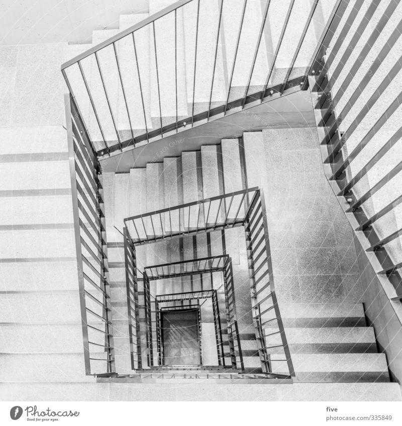 4.Stock Haus Hochhaus Bauwerk Gebäude Architektur Mauer Wand Treppe bauen eckig Zusammensein groß hell kalt modern neu grau Treppengeländer Treppenhaus
